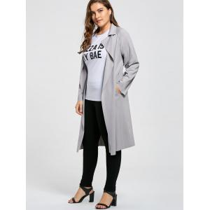 Open Front Plus Size Lapel Longline Coat - GRAY 3XL