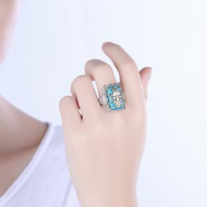 Faux Gemstone Engraved Insect Geometric Ring - SILVER 6