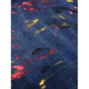 Zip Fly Splatter Paint Faded Jeans -