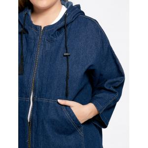 Plus Size Denim Batwing Sleeve Coat - BLUE XL
