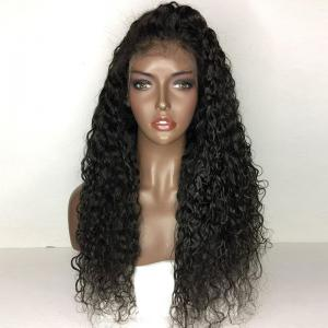 Long Free Part Fluffy Water Wave Human Hair Lace Front Wig - NATURAL BLACK
