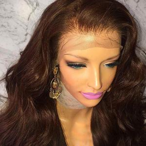 Long Fluffy Free Part Body Wave Lace Front Human Hair Wig -