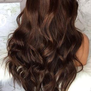 Long Fluffy Free Part Body Wave Lace Front Human Hair Wig - BROWN