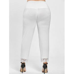 Plus Size Lace Trim High Waist Pants - WHITE XL