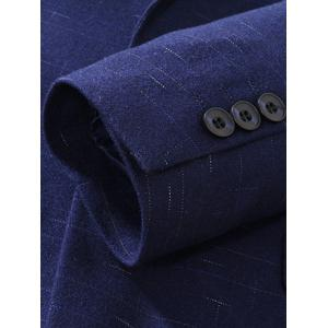 Stitching Design Lapel Single Blazer Blazer - Bleu Foncé 3XL