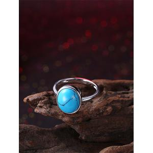 Faux Gem Oval Bohemian Ring - SILVER 6