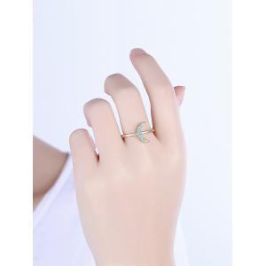 Faux Gemstone Moon Circle Finger Ring - GOLDEN 6