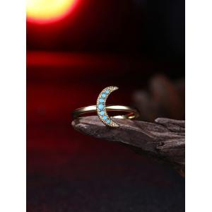Faux Gemstone Moon Circle Finger Ring - Or 8