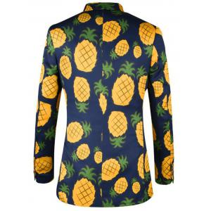 3D Pineapple Print Casual Blazer - COLORMIX 48