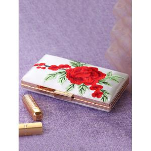 Flower Embroidered Clutch Bag - WHITE