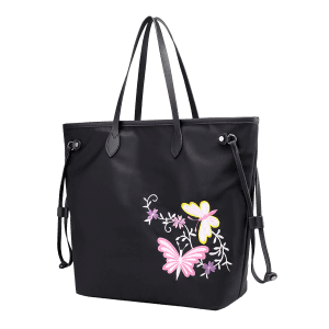 Drawstring Flower Embroidery Shoulder Bag -