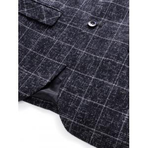 Lapel Single Breasted Heathered Checked Blazer - GRAY L
