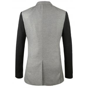 Notch Lapel One-button Color Block Blazer - GRAY 50