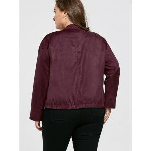 Vintage Plus Size Sueded Jacket with Pockets - CLARET XL