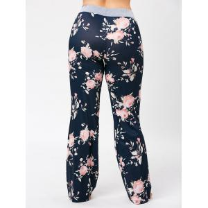Plus Size Drawstring Floral Pajamas Pants -