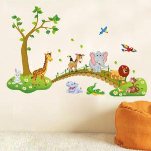 Animaux World Printed Home Decor Stickers muraux - Multicolore