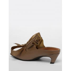Bow Square Toe Mid Heel Slippers -