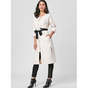 Side Slit Tie Belt Trench Coat -