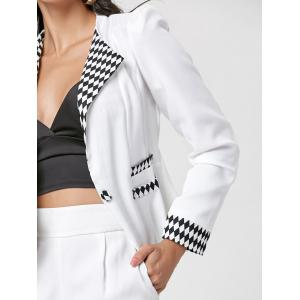 Argyle One Button Blazer - Blanc M