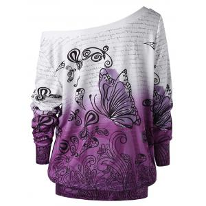 Sweat-shirt Imprimé Papillon Ombré Encolure Cloutée -
