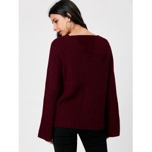 Ripped V Neck Chunky Sweater - DARK RED 2XL