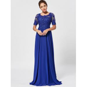 Floral Lace Rhinestone Maxi Prom Evening Dress -