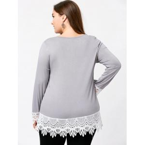 Plus Size Lace Panel Jersey Babydoll Top - LIGHT GRAY XL