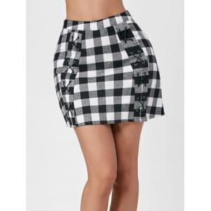 Gingham Lace Up Micro Skirt -
