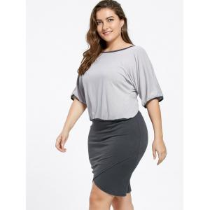 Sweet 3/4 Sleeve Backless Bowknot T-Shirt+Plus Size Skirt Twinset For Women -