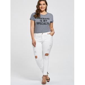 Slim Fit Plus Size Destroyed Jeans -