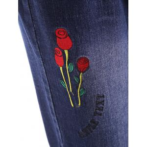 Plus Size Distressed Letter Floral Embroidery Jeans -