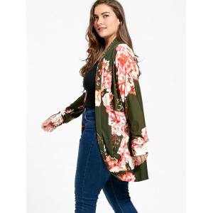 Floral Print Plus Size Open Front Coat -