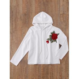 Sweat à capuche floral Applique Pullover -