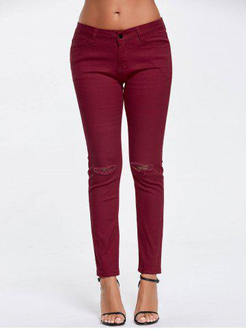 Latest Skinny Ripped High Waisted Pants - S WINE RED Mobile