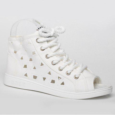 Best Peep Toe Hollow Out Canvas Shoes - 37 WHITE Mobile