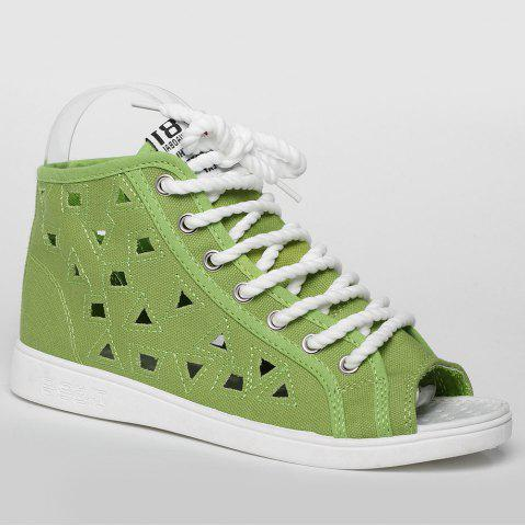 Buy Peep Toe Hollow Out Canvas Shoes - 39 GREEN Mobile