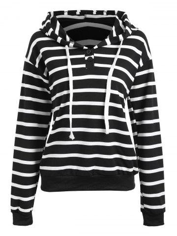 Buy Striped Running Drawstring Hoodie - S BLACK Mobile