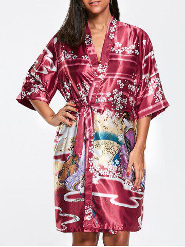 Hot Floral Belted Satin Sleepwear Kimono WINE RED S