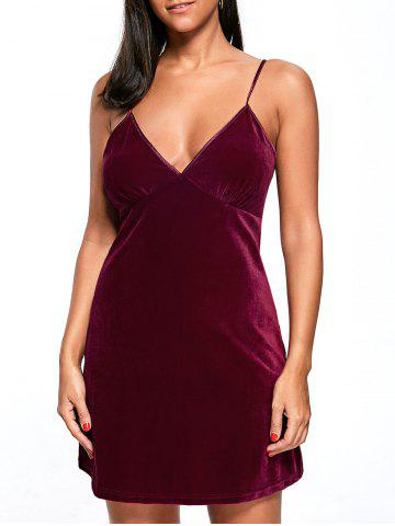 New Velvet Pajama Cami Dress - XL WINE RED Mobile