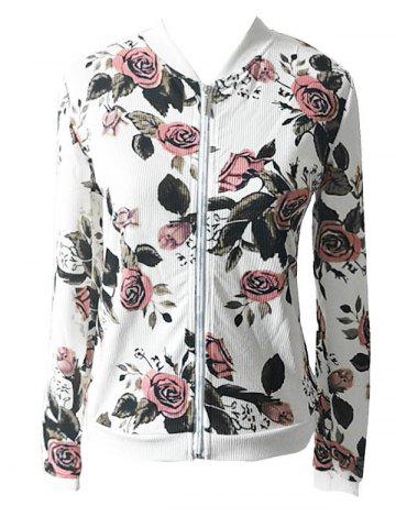 Latest Full Zip Floral Jacket - S WHITE Mobile