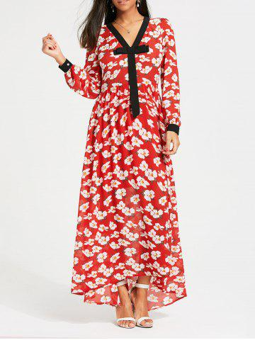 Latest Floral Print Bowknot Long Sleeve Maxi Dress RED S