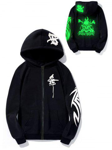 Discount Luminous Skull Graphic Print Hoodie - XL GREEN Mobile
