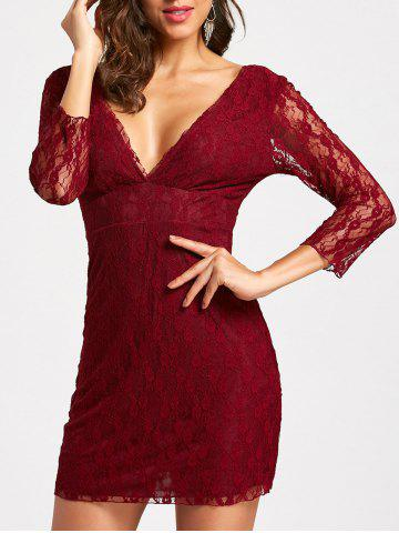 Online Plunging Neckline Empire Waist Mini Lace Dress - M WINE RED Mobile