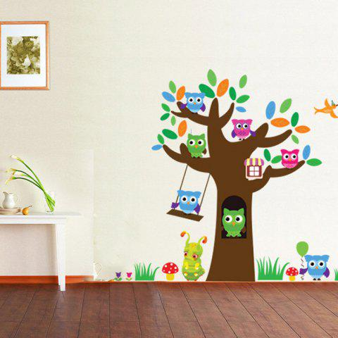 Discount Birds Tree Printed Home Decor Wall Sticker COLORMIX