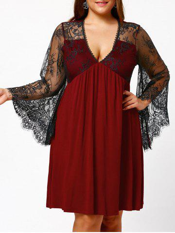 Outfit Plus Size Lace Sleeve Holiday Dress BURGUNDY 5XL