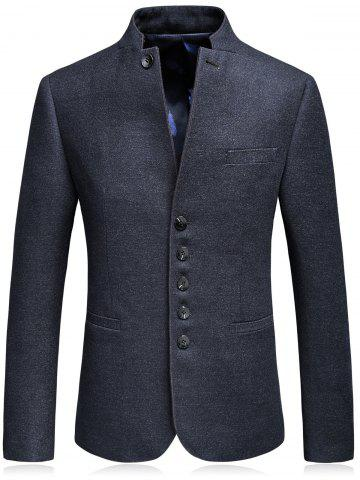 Discount Single Breasted Mandarin Collar Blazer - 3XL DEEP BLUE Mobile
