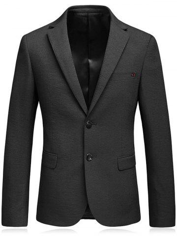 Lapel Collar Flap Pocket Business Blazer Noir L