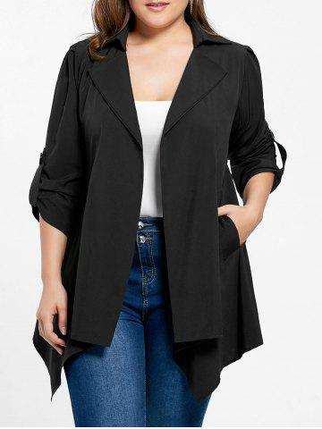 Affordable Plus Size Roll-tab Sleeve Asymmetrical Jacket - 5XL BLACK Mobile