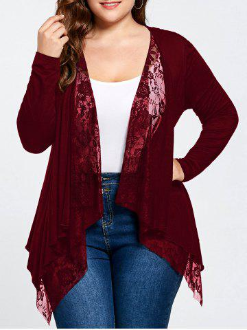 Wine Red 5xl Plus Size Lace Trim Open Front Cardigan | RoseGal.com