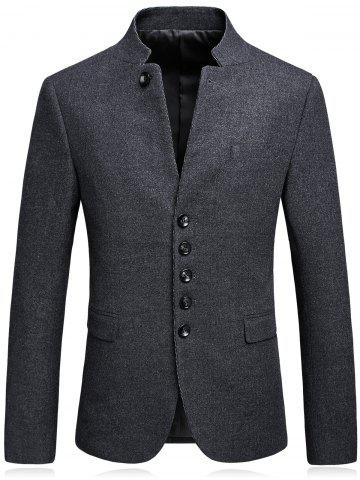 Outfit Single Breasted Mandarin Collar Blazer - L GRAY Mobile
